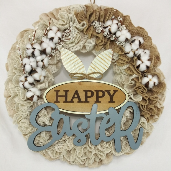 Handmade Other - Happy Easter Burlap Cotton Welcome Wreath